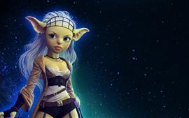Aperçu fond d'écran Fille fantastique, elf, étoilé, ciel, nuit