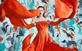 Preview wallpaper Fashion girl, orange skirt, art photography