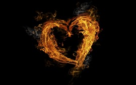 Preview wallpaper Fire, flame, love heart