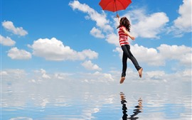 Flight girl, umbrella, sea, sky, clouds