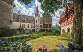 壁紙のプレビュー フランス、ブルゴーニュ、庭園、アジサイ、城、家