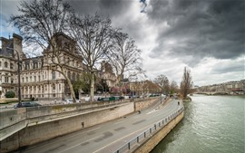 França, paris, rio, ponte, árvores, nuvens, cityscape