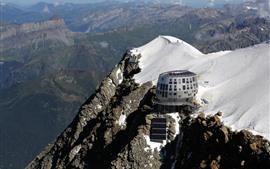 França, montanha, Hotel, neve