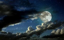 Luna llena, nubes, estrellado, noche