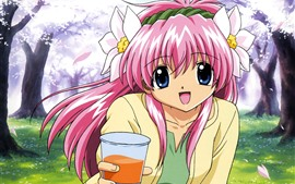 Preview wallpaper Galaxy Angel, happy anime girl, pink hair, drink