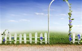 Jardim, prado, cerca, portão de arco