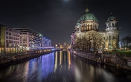 Germany, Berlin, city night, river, buildings, lights