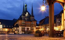 Alemanha, café, casas, luzes, noite, cidade