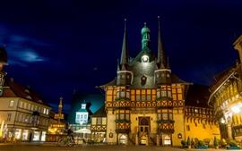 Alemania, ciudad, noche, castillo, luces