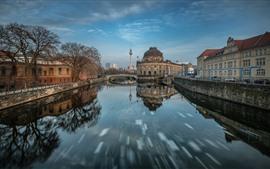 Германия, город, река, деревья, здания, мост, башня