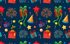 Preview wallpaper Gifts, fireworks, hat, stars, candy, art picture