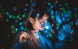 Girl, lights, light circles, night