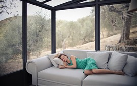 Preview wallpaper Girl sleeping, sofa, glass house