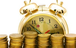 Preview wallpaper Gold coins, clock, money