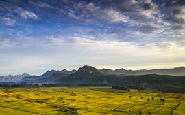 Preview wallpaper Golden fields, mountains, beautiful nature landscape
