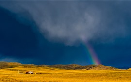 Preview wallpaper Grassland, mountains, clouds, house, rainbow