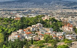 Preview wallpaper Greece, city, houses, trees