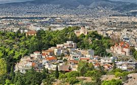 壁紙のプレビュー ギリシャ、都市、住宅、木