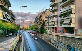 Greece, cityscape, road, cars, buildings, city