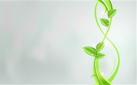 Preview wallpaper Green leaves, plant, gray background, creative design