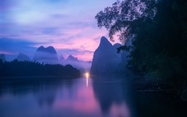 Preview wallpaper Guilin nature landscape, river, mountains, fog, dusk, light, China