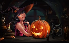 Preview wallpaper Halloween, blue eyes girl, pumpkin, cat, art picture