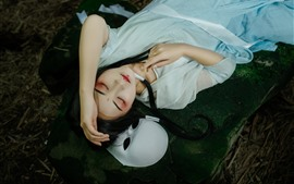 壁紙のプレビュー 漢王朝の女の子、ポーズ、化粧、睡眠、マスク