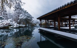 Preview wallpaper Hangzhou Snow View, park, lake, trees, winter, corridor