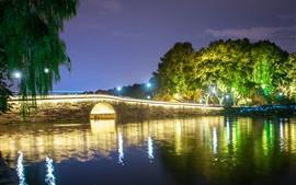 Hangzhou West Lake, puente, árboles, luces, noche, China