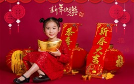 Preview wallpaper Happy Chinese New Year, cute little girl, red style