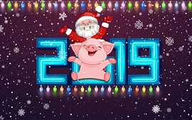 Preview wallpaper Happy New Year 2019, Pig Year, Santa Claus, snowflakes, colorful lights