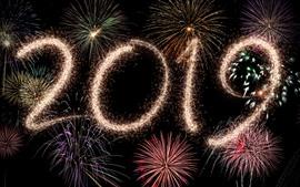 Feliz año nuevo 2019, hermosos fuegos artificiales, noche