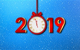 Happy New Year 2019, clock, blue background
