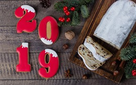 Aperçu fond d'écran Happy New Year 2019, biscuits, pain