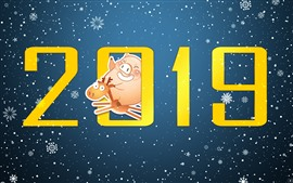 Preview wallpaper Happy New Year 2019, pig, deer, snowflakes