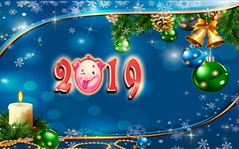Happy New Year 2019, год свиньи, новогодние шары, украшения, художественная картина