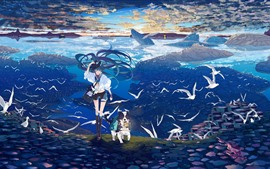 Preview wallpaper Hatsune Miku, anime girl, dog, seagull, sea, whale