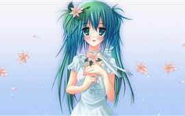 Preview wallpaper Hatsune Miku, beautiful blue hair girl, flowers