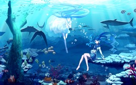 Hatsune Miku, anime blue hair girls, submarino, mar, pez