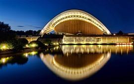 Haus der Kulturen der Welt, agua, noche, luces, Berlín, Alemania