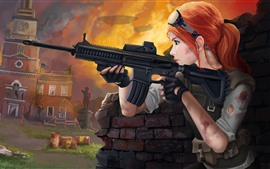 Preview wallpaper Homefront: The Revolution, red hair girl, weapon, jeep, art picture