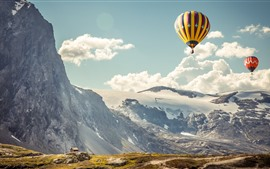 Preview wallpaper Hot air balloons, mountains, sky, clouds, hut