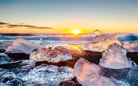 Gelo, mar, praia, nascer do sol, inverno