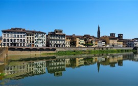 Italia, Florencia, Toscana, ciudad, casas, río