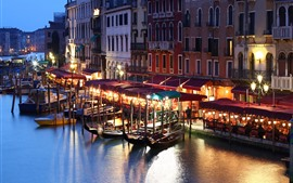Preview wallpaper Italy, Venice, night, river, boats, houses, lights, city
