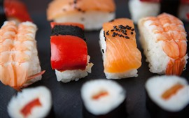 Preview wallpaper Japanese cuisine, sushi, rice, food