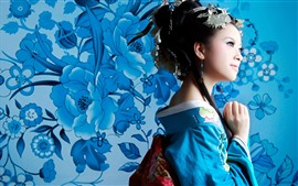 Preview wallpaper Japanese girl, blue kimono, flowers background
