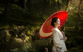 Chica japonesa, paraguas, árboles