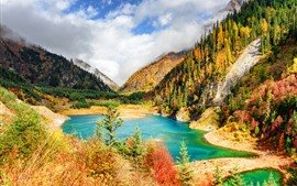 Jiuzhaigou, beautiful nature landscape, trees, mountains, lake, clouds, China