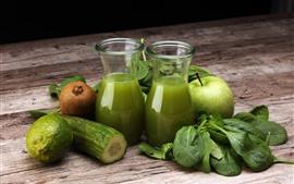 Jugo, kiwi, manzana, verdura, limón.